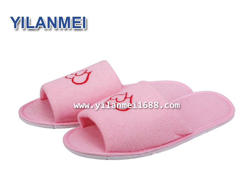 Disposable Coral Velvet Hotel Slippers Open Toe Wholesale